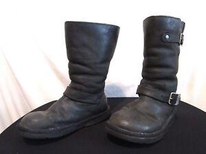 ee055b2585c Australia 5678 Kensington Black Leather Shearling Motorcycle Boots ...