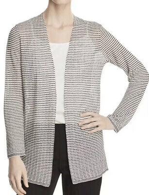 S L Eileen Fisher Toffee Cream Fine Organic Linen Crepe Knit Short Cardigan XS