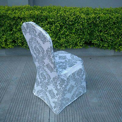 New Chair Cover Luxury Golden/Silvery Floral Slipcover Wedding Party Seat Decor