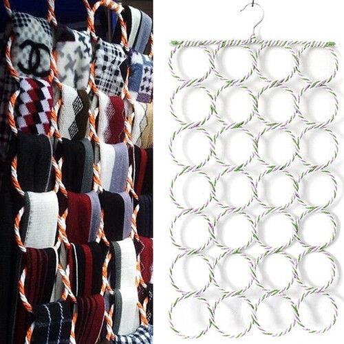 CO_ KQ_ 28 Hole Ring Rope Slots Holder Hook Scarf Shawl Storage Hanger Organizer