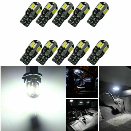 10X Canbus T10 194 168 W5W 5730 8 LED SMD Car Side Wedge Light Lamp Bulb White
