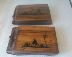TWO-VINTAGE-ANTIQUE-OLIVE-WOOD-PHOTOGRAPH-ALBUMS-JERUSALEM-PALESTINE