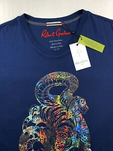 Robert-Graham-Cobra-Tiger-Graphic-Print-T-Shirt-Crew-Neck-Navy-Blue-L-2XL