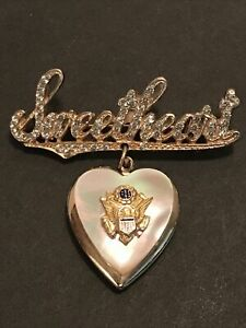 WWII US Army Sweetheart With Rhinestones Pin Mother Of Pearl Locket With Photos