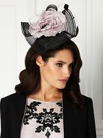 Jacques Vert Embroidered Yoke Dress And Fascinator Black/neutral -size 18