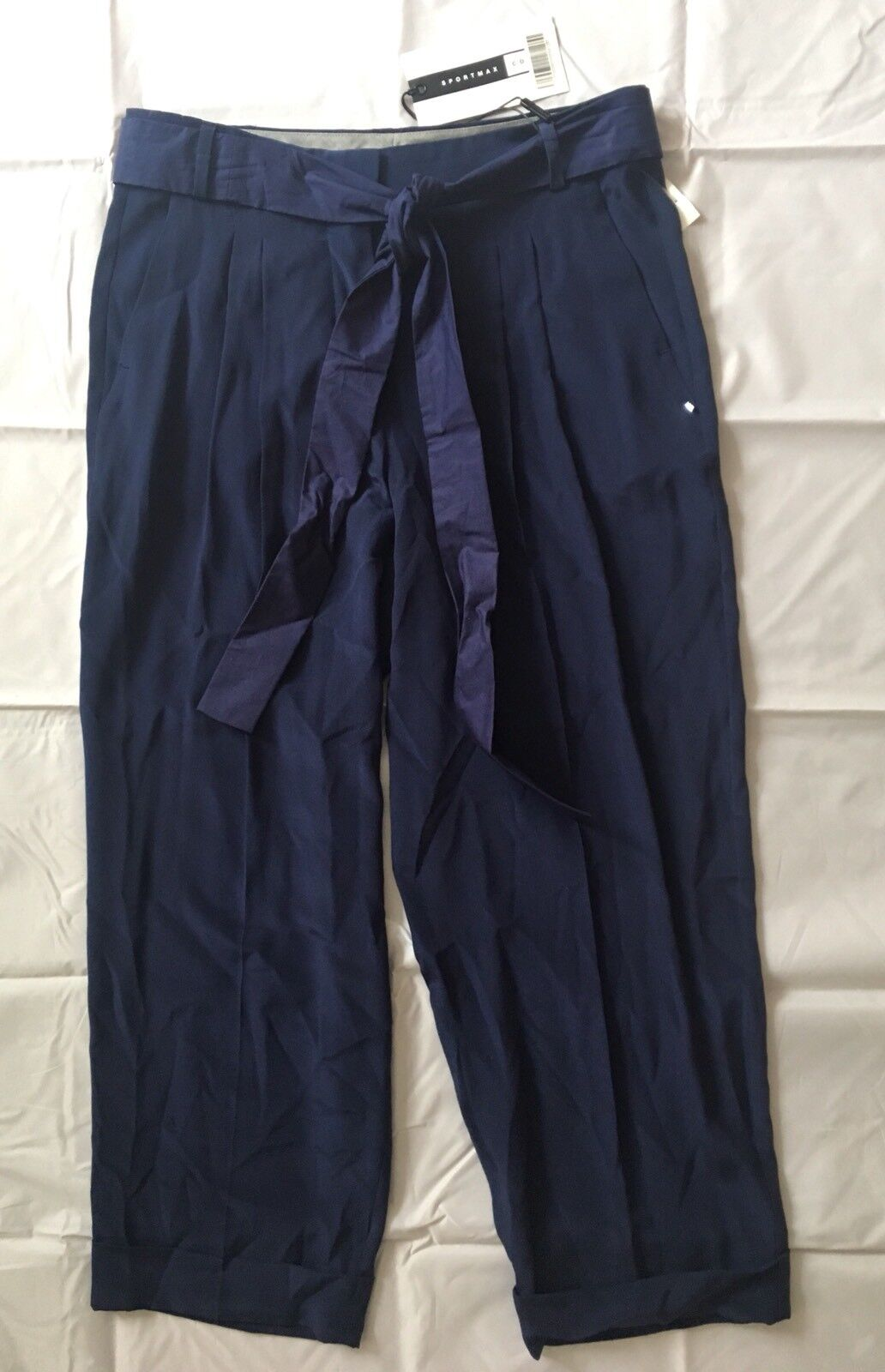 NWT Sportmax Max Mara Women's 100% Silk Crop Pants Sz US8