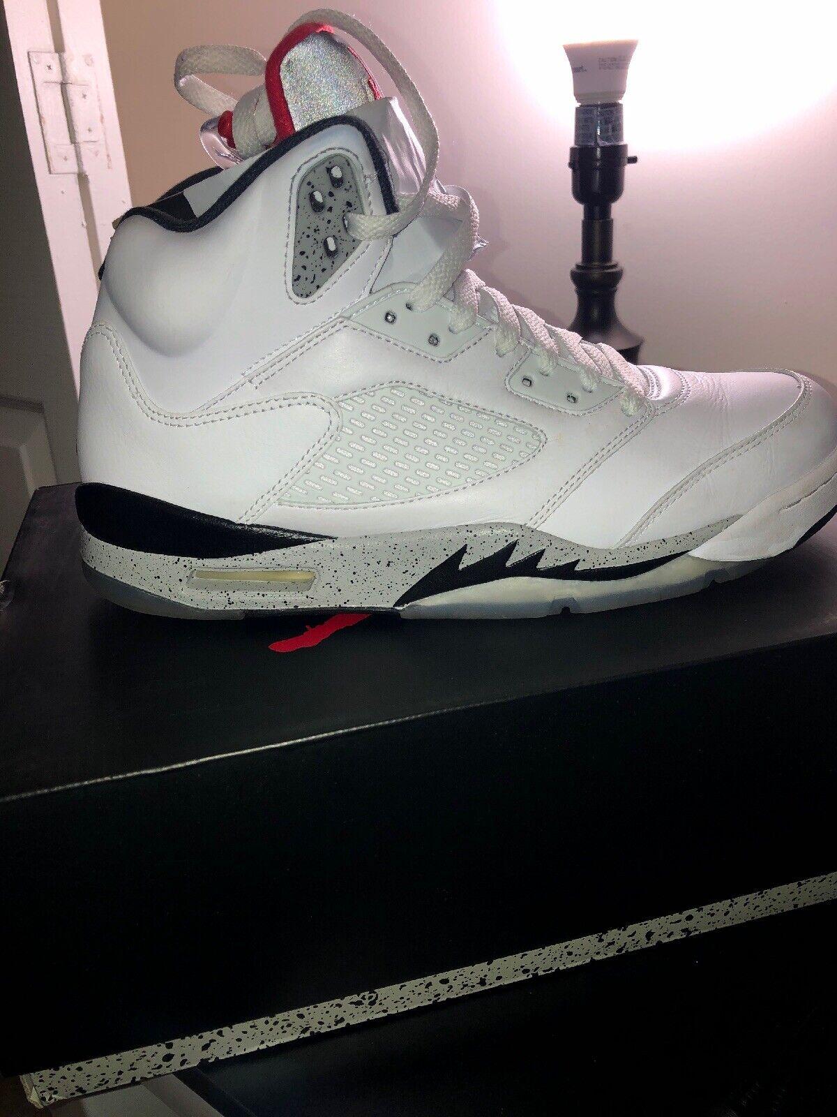 Air Jordan Retro 5  White Cement,  Men's Size 9.5 pre-owned