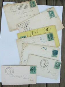 Nice-Collection-of-7-Antique-1870-039-s-Dated-Letters-ALL-WITH-ORIGINAL-STAMPS