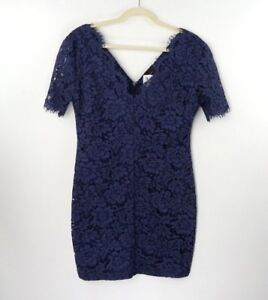 Dress-Forum-LA-Womens-Large-Navy-Blue-Lace-V-Neck-Short-Sleeve-Dress-New-w-Tags