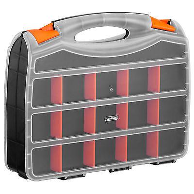"VonHaus 15"" Two Sided Plastic DIY Tool Nut Bolt Screw Storage Box Organiser Case"