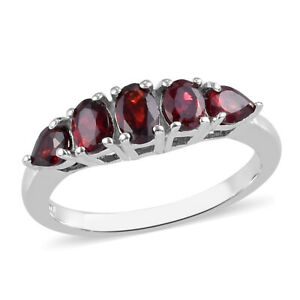 925-Sterling-Silver-Platinum-Over-Pyrope-Garnet-5-Stone-Ring-Gift-Size-7-Ct-1-1