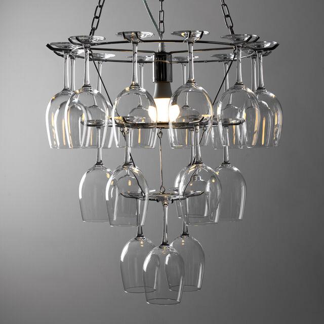 Minisun Polished Chrome 1 Way Wine Glass Holder Ceiling Light Fitting Chandelier No