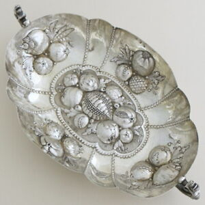 1895-Antique-Victorian-English-Sterling-Silver-Fruit-Serving-Bowl-Dish-Embossed