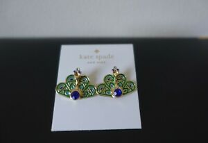 KATE SPADE  GOLD PLATED PLUME PEACOCK STUD EARRINGS. NEW