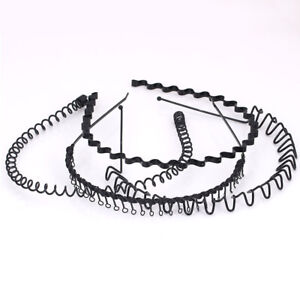 Hot-Unisex-Men-Women-Sports-Wave-Hair-Band-Metal-Black-Hairband-Hoop-Headband