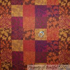 BonEful Fabric Cotton Quilt Red Block Gold Leaf Flower Thanksgiving Check SCRAP