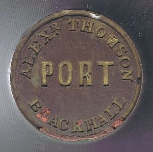 SCOTLAND-1850-039-s-PORT-WINE-SEAL-A-THOMSON-BLACKHALL-with-WOODEN-HANDLE-WELL-USED