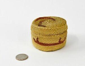 "Handsome Makah  Indian Basket   ca. 1900-1920  2 1/8"" x 3"" d"