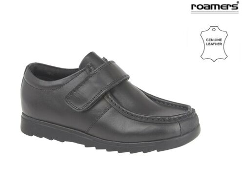 Roamers Boys Black Leather Shoes School Touch Fastening Trainers size 10-6 UK