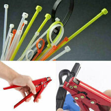 Red Nylon Cable Zip Tie Tensioning Fasten Tightener Cutter Tool Off Gun