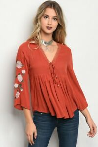 New-Boho-Peasant-Hippie-Orange-Rust-Floral-Bell-Sleeve-Western-Blouse-S