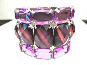 STRETCH-BRACELET-CONTEMPORARY-PURPLE-WITH-RAISED-MULTIFACETED-LIGHT-DARK