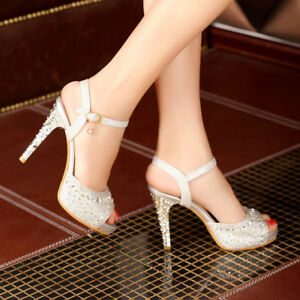 Womens-Rhinestones-Party-Wedding-Sandals-Peep-Toe-High-Heels-Shoes-Glitter-Pumps
