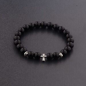 2017 New Cross Beaded Rosary Adjustable Black Lava Bead Men Fashion