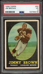 1958 Topps Football Jim Brown RC Rookie PSA 3 VG #62 Browns Centered Beauty!