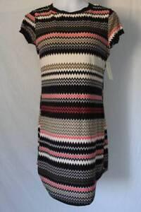 NEW-Womens-Shift-Dress-Size-Small-Chevron-Short-Sleeve-Above-Knee-Soft-Ladies