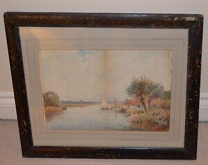 John-Reginald-GOODMAN-1878-Lake-with-Sailboat-Landscape-Watercolour