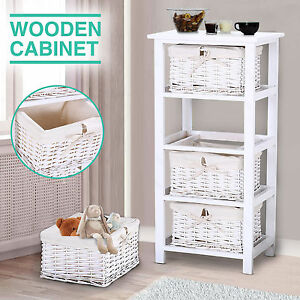 White Wicker Basket Nightstand End Side Bedside Table Top Storage Wood