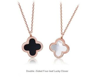 Rose gold double sided 4 leaf lucky clover pearlwhiteblack image is loading rose gold double sided 4 leaf lucky clover aloadofball Image collections