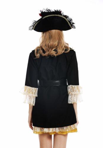 Abito Costume Cappello da Donna Donne carnevale barocco elegante piratessa dei seeräuberin M w-0266