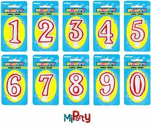 Number-Candle-Birthday-Party-Cake-Topper-All-Ages-Boy-Girl-Red-and-White-0-to-9