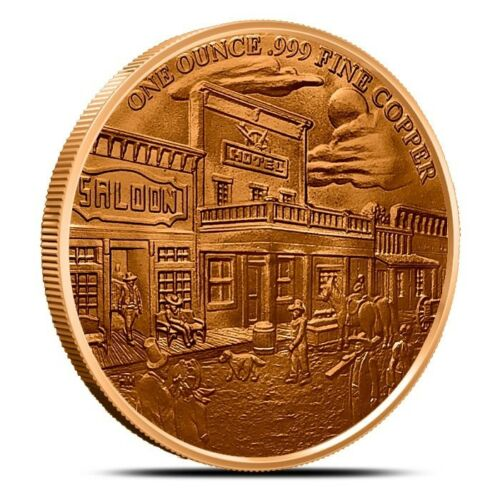 1oz .999 copper round Prospector Series Gunslinger