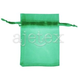 25pcs-7x9cm-Green-ORGANZA-XMAS-GIFT-BAGS-Wedding-Party-Jewellery-Pouches-FB