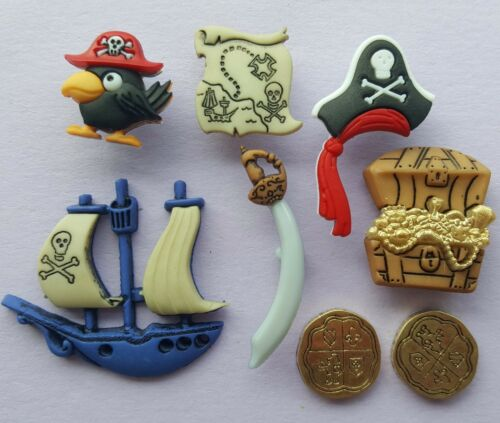 PIRATES Ship Hat Sword Map Bird Gold Treasure Cornwall Dress It Up Craft Buttons