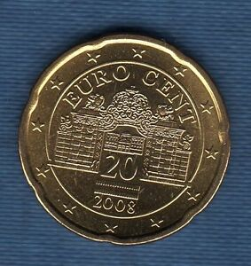 Autriche 2008 - 20 Centimes D' Euro - Pièce neuve de rouleau -