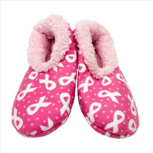 NWT-Snoozies-Pink-with-White-Ribbons-Slippers-Medium-7-8