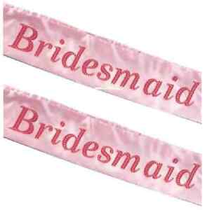 2-x-BRIDESMAID-Hen-Party-Sashes-Girls-Night-Out-Pink-Wedding-Sash-C00-122