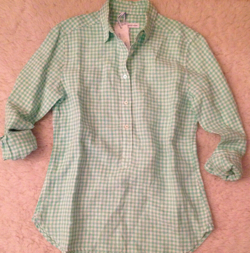 NWT  Southern Tide MINT GREEN GINGHAM Hadley Popover LINEN Shirt Womens S