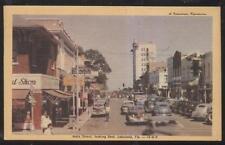 POSTCARD LAKELAND FL/FLORIDA MAIN STREET EAST BUSINESS STORE FRONT 1940'S