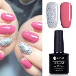 2pcs-Red-Glitter-Gel-Nagellack-LED-UV-Lampe-Gellack-Nail-Polish-UR-SUGAR-7-5ml