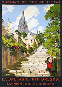 Affiche chemin de fer Etat - Bretagne Lannion