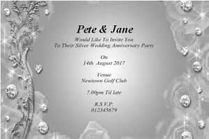 10 Personalised Silver 25th Wedding Anniversary Invitations Thank