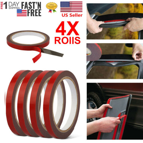 4 rolls 9.8ft Car Double Sided Foam Tape For Car Truck Auto Body Window Door
