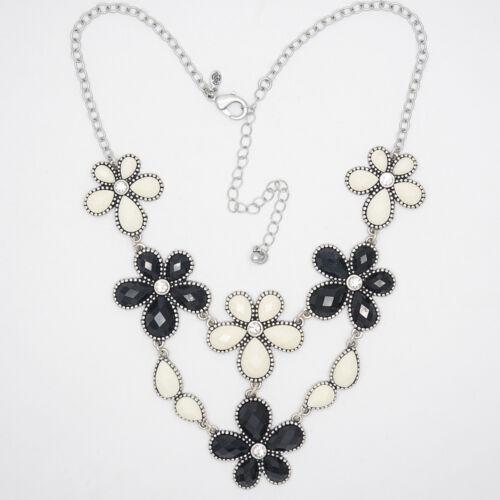 Premier Designs jewelry vintage plaqué argent Cluster Statement Fleur Collier