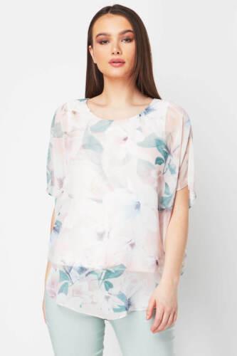 Light Women Top Chiffon Originals Ladies Pink Floral Roman Overlay qOxP0Z5nw