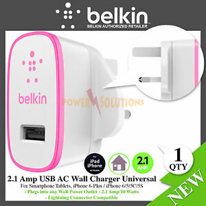 Belkin 2.1 Amp USB AC Wall Charger Universal for Smartphone Tablets F8J052UKPNK